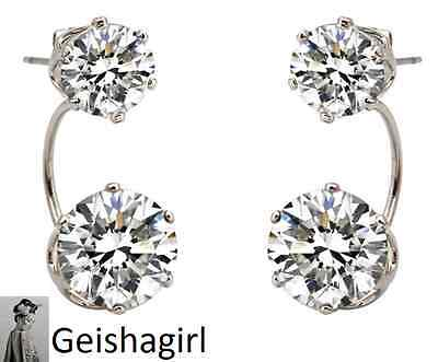 Double Sided Silver Plated CZ Crystal Gem Earrings Ear Cuff Jewellery Women UK