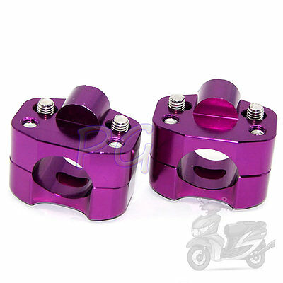 "CNC Taper Handle Bar Clamps Taper 7/8"" to 1 1/8"" handlebar Pit Bike Purple"