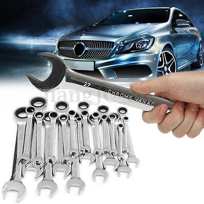 6mm-32mm Steel Metric Ratchet Spanner Socket Wrench Open End Ring Workshop Tool