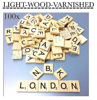 100/200 Wooden Scrabble Tiles Black Letters Numbers For Crafts Wood Alphabets