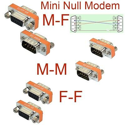 High Quality Mini Null Modem DB9 Female Male plug Adapter Gender Changer cross