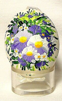 Genuine Hand painted Duck Egg w/Purple Pansy Floral-Easter Ornament/Gift-Poland