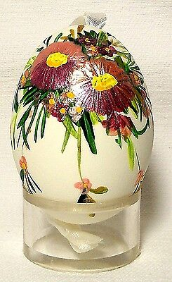 Genuine Hand painted Duck Egg w/Shiny Pansy Floral-Easter Ornament/Gift-Poland