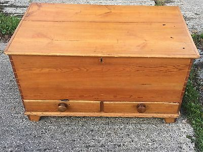 Pine Victorian  Blanket Box With Drawers