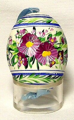 Genuine Hand painted Duck Egg w/Striped Pansy Floral-Easter Ornament/Gift-Poland