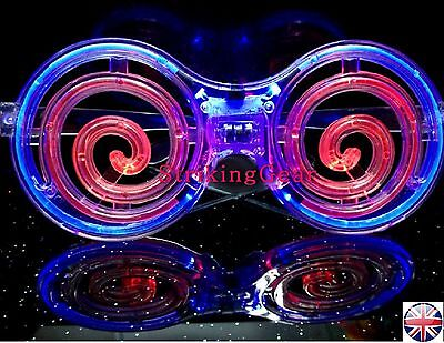 LED Light-Up Flashing Spiral Crazy Glasses Concerts Clubs Party UK
