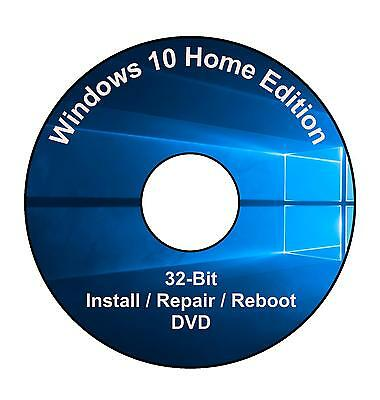 Windows 10 Home Edition 32-Bit Installation & Format HDD DVD Disc