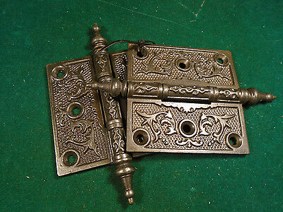 Pair Vintage Eastlake Hinges  3.5  X 3.5 Steeple Top - Very Clean (6272)
