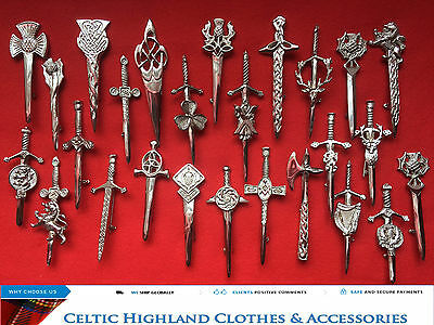Scottish Highland Kilt Pins In Chrome Finish/Brooch Kilt Pins Various Design