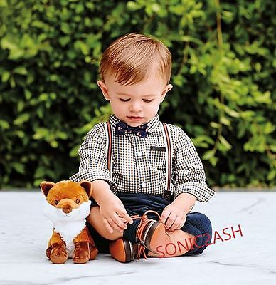 NWT Janie & Jack WOODLAND FOX 12 18 M OUTFIT Shirt Suspender Pants Layette FALL