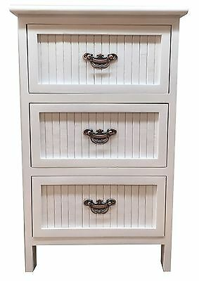 Wooden Bedside White 3 Drawers Nightstand Cabinet Storage Unit Table T10-5028