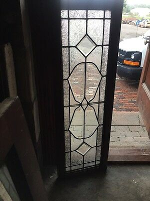 Sg 851 Antique Beveled Glass Textured Glass Transom Window Nice