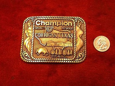 "Mint Cond Vtg Solid Brass Belt Buckle ""Champion Specialty Plywood"" (Hts, Tx)"