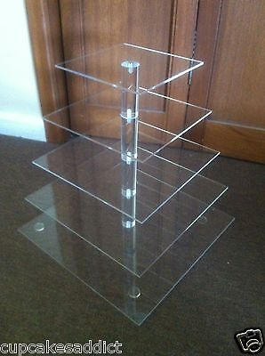 5 Tier Clear Acrylic  Square Cupcake Cup Cake Stand Tower Wedding Party