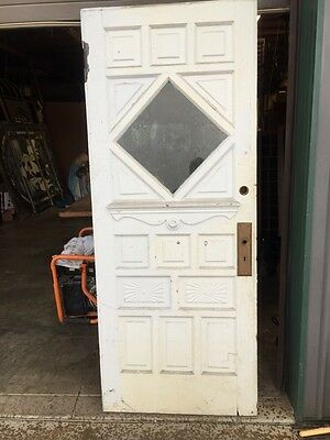 Door 13 Antique Entrance/Pantry Door 32 Inch With Etched Scene
