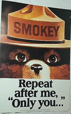 SMOKEY BEAR Fire Prevention Safety Poster Official Govt issued Repeat After Me