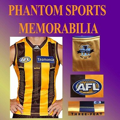 New Official Afl Hawthorn Hawks 3 Three Peat Premiership Jumper Guernsey Size:s