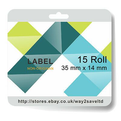 15x Compatible Zebra 35 x 14mm White Direct Thermal Labels 1000 Labels per Roll