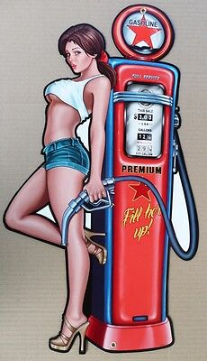 GASOLINE PIN-UP GIRL FILL'ER UP always open,  Memorabilia Metal tin Sign