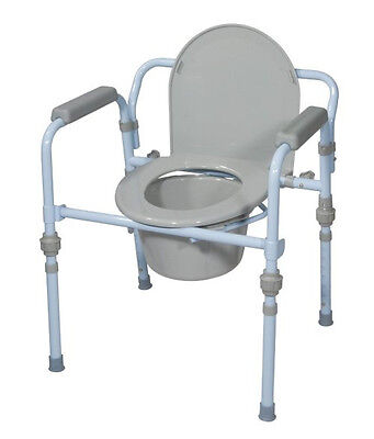 Commode Toilet Bedside Seat Handicap Chair Folding Lock Shower Safe Elderly NEW