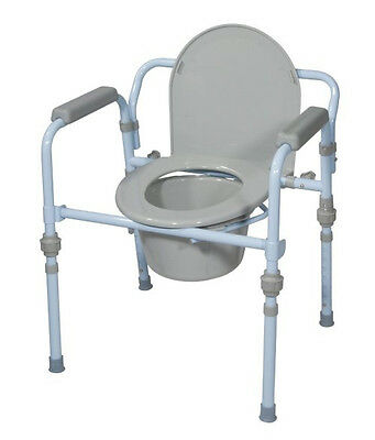 Toilet Commode Folding Lock Shower Safe Elderly Bedside Seat Handicap Chair NEW
