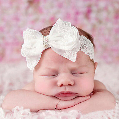 High Newborn Baby Kids Girl Toddler Bow Turban Lace Headband Hair Band Headwrap
