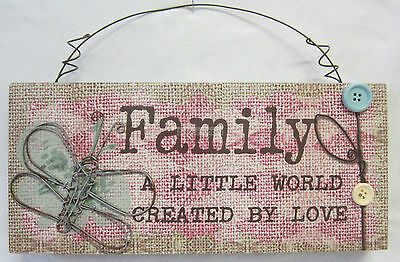 Country Wooden Sign Family a Little World Created By Love with Wire Butterfly