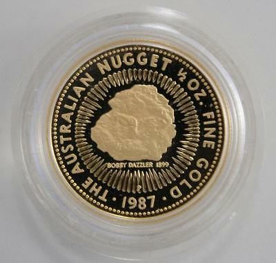 1987 Australian 1/2oz Proof Gold Nugget Coin in Capsule - Genuine