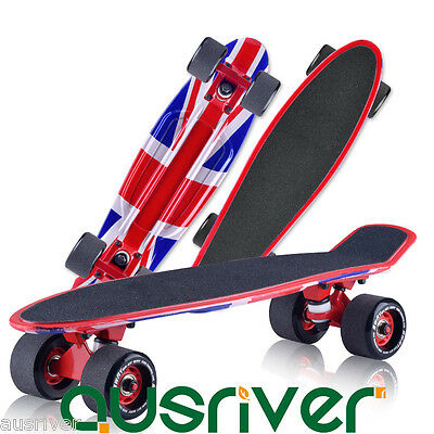 New Unisex Complete Mini Cruiser Skateboard Banana Fish Board Adult Kid Toy Gift