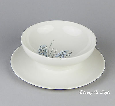 Gravy Boat & Attached Underplate, NEAR MINT! Blue Grass, Syracuse, Carefree