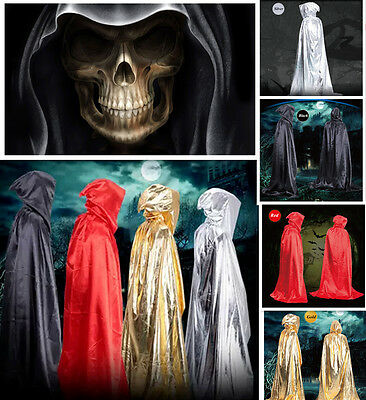 Fashion Hooded Long Cloak Cape Robe Mantle Costume Halloween Party Witch Poncho