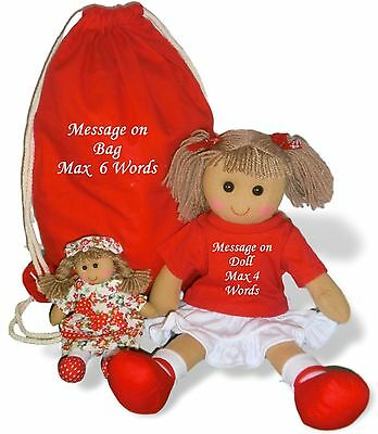 Personalised Rag Doll Christmas Large Embroidered Dolly + Bag & FREE Mini Doll