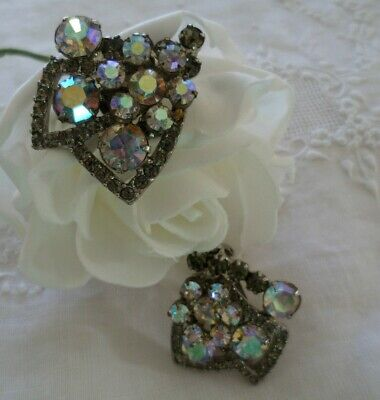 Antique Victorian Vintage Crystal Aurora Borealis  Silver Earrings Ear Rings