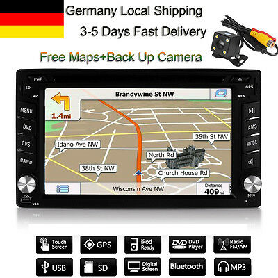 Doppel 2DIN 6.2 Zoll Navigation Bluetooth Autoradio GPS Navi USB CD DVD Headunit