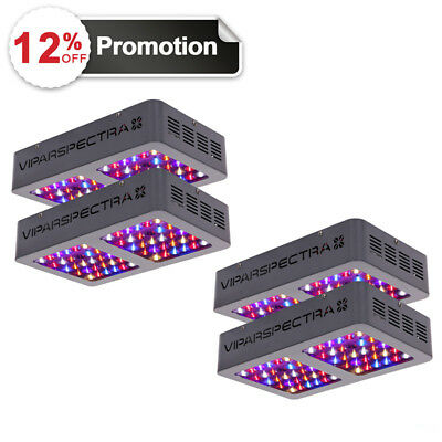 VIPARSPECTRA 4pcs 300W LED Grow Light 12 Band Full Spectrum with ON/OFF Switch