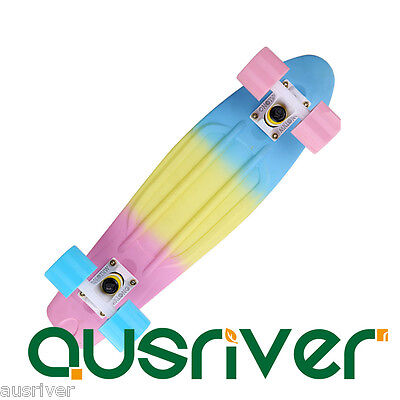 Rainbow Colour Complete Mini Cruiser Skateboard Banana Fish Board Adult Kid Toy
