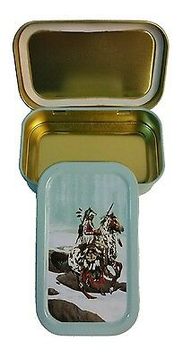 Small turquoise Slim 1oz Hinged Tobacco Tin Indiana Camping - Storage - Sewing