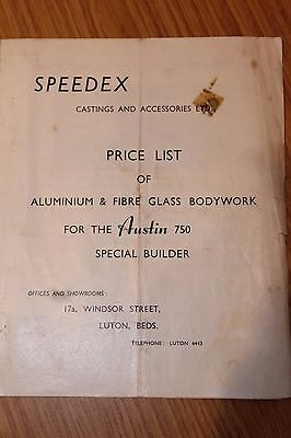 Speedex Price List Of Bodywork For Austin 750 Special Builder