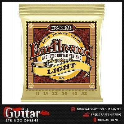 Ernie Ball 2004 Earthwood 80/20 Bronze Light Acoustic Guitar Strings 11-52