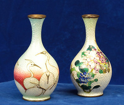 Pair of Antique Japanese Ginbari Cloisonné Enamel Vases- Meiji Period- Marked
