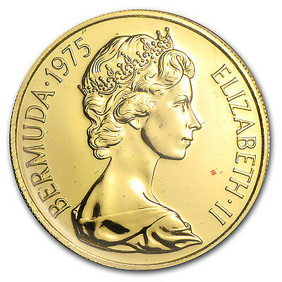 1975 Bermuda $100 Gold Coin - Queen Elizabeth's Royal Visit - Proof/BU -SKU#8903