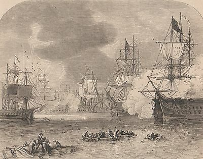Antique Print, Battle Of Navarino, Battle Scene 1827