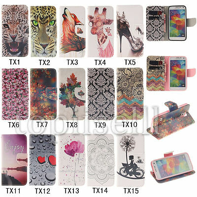 Flip Patterned PU Leather Lot Card Pocket Kickstand Case Cover Silicone Bumper