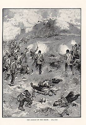 Crimean War,assault On The Redan,seige Of Sebastopol,1854,antique Engraved Print