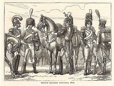 Antique Print Of 1896, French Military Uniforms, Napoleonic Wars 1811