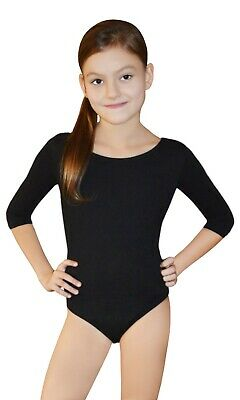 Girls Gymnastics Dance School Black | White Leotards 3/4 Length Sleeve Age 6-12