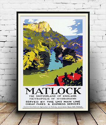 Matlock, Vintage British Railway Travel advert Reproduction poster, Wall art.