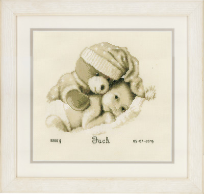 Vervaco Birth Record Baby & Teddy Cross Stitch Kit