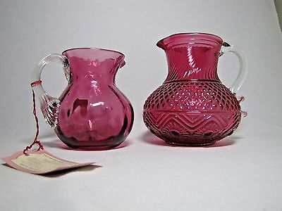 2 Cranberry Glass Small Pitchers - One with Pilgrim Glass Label and Tag