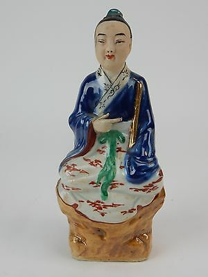 """Antique Chinese Hand Painted Glazed statue of young boy 7.5 """" Imprint mark"""